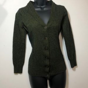 J.Crew olive green cardigan sweater, size:s